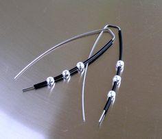 Contemporary earrings  Long earrings  Silver earrings Modern earrings Black earrings Statement earrings Dangle earrings Unique earrings by Feltpoint on Etsy