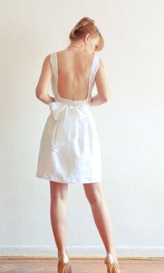 Low back white linen dress by Lana Stepul