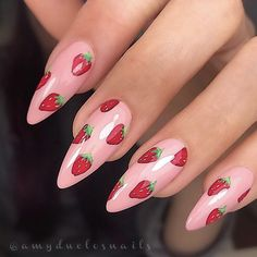 Jul 2019 - Cute hand painted strawberry nails by Ugly Duckling Master Educator 😍 Ugly Duckling Nails is dedicated to keeping love, support, and positivity flowing in our industry ❤️ Strawberry Nail Art, Cherry Nails, New Nail Art, Easy Nail Art, Best Nail Art Designs, Acrylic Nail Designs, Great Nails, Cute Nails, Natural Almond Nails