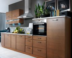 New Kitchen Set Aplaus 360cm with Lights | Modern Complete Kitchen 9 units Brown