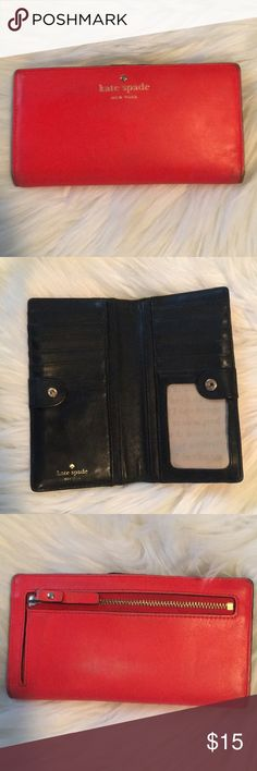 Kate Spade Wallet Definitely some wear and tear but still has lots of life left! Some fading on corners and back. kate spade Bags Wallets
