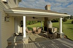 covered porch with fireplace | Covered Porch with Stone Hearth, Fireplace and Attached Deck ... (Back Porch Step)