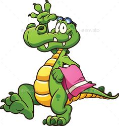 Cartoon crocodile with towel and goggles. Vector clip art illustration with simple gradients. All in a single layer. EPS10 file in