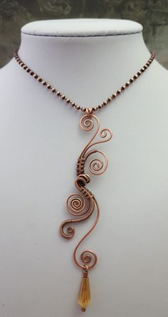 ImpArts' shop - Copper wire wrapped pendant with gold AB crystal drop on a copper ball chain