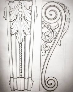 Wood Carving Ideas For a Rustic Home Decor – Design and Decor Wood Carving Designs, Wood Carving Patterns, Wood Carving Art, Wood Art, Sculpture Ornementale, Ornament Drawing, Wood Design, Decoration, Craft