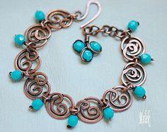 Wireworked Copper Bracelet by Melek Designs Wire Wrapped Bracelet, Copper Bracelet, Copper Jewelry, Beaded Jewelry, Jewellery, Wire Jewelry Designs, Bracelet Designs, Wire Crafts, Jewelry Crafts