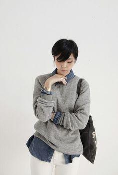 Denim shirt and jumper