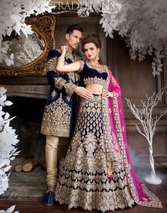 navy blue wedding lengha for Pakistani and Indian brides