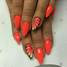 Red nailart nails
