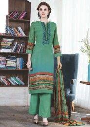 Dark Green Casual Wear Salwar Suits