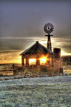 """Sunshine Through The Barn...New Mexico. I really like the style of this...sort of a """"Country Gazebo"""" with a Windmill to boot..."""