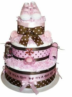 Its a girl brown and pink dot cake