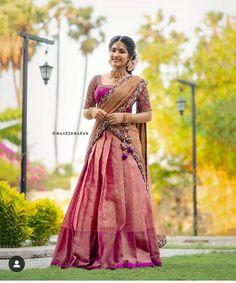 Lehenga Saree Design, Half Saree Lehenga, Lehnga Dress, Lehenga Designs, Lehenga Style, Silk Lehenga, Gown Dress, Saree Blouse, Sarees