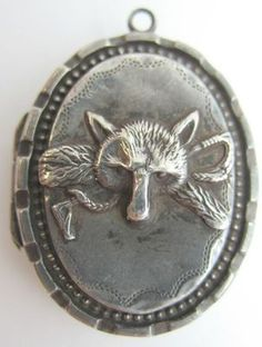 Victorian Fox Hunting Sterling Silver 925 Locket Pendant Original Photo inside!