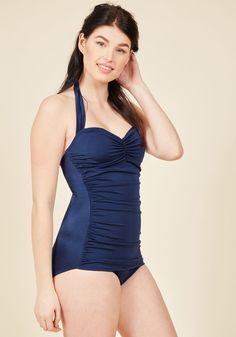6120d5e7a60 Bathing Beauty One-Piece Swimsuit in Navy. It s ModCloth s ultimate swimsuit  - now in