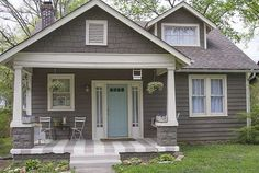 Love the colors on this house except red door instead Black And White And Loved All Over: A Haint Blue Porch Ceiling. Exterior Paint Schemes, Exterior Paint Colors For House, Paint Colors For Home, Exterior Design, Paint Colours, Exterior Siding, Gray Exterior Houses, Outdoor House Colors, Grey Siding House