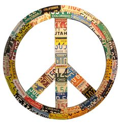Aaron Foster - Recycled license plate peace sign