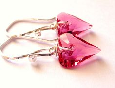 Pink Swarovski Heart Earrings, Wild Heart Indian Pink Crystal Wire Wrapped Sterling Silver, Fashion, Under 25. $24.00, via Etsy.