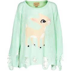 WILDFOX Little Helper Lennon Teal Oversized sweater in destroyed look found on Polyvore