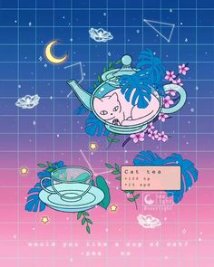 """'Cat Tea' 🐱 """"Cats are liquid"""" So. do you want a cup of cat? 👀 It recovers 100 hp & grants speed 🌿 🎶Music: """"leaping through time"""" by Wallpapers En Hd, Animes Wallpapers, Aesthetic Gif, Aesthetic Wallpapers, Aesthetic Videos, Pixel Kawaii, Dibujos Cute, Pastel Art, Kawaii Art"""