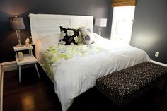 Craig Dauphinee and Christopher Gillis' vintage-inspired home in Charlottetown, P.E.I. featured in the Summer 2011 issue of East Coast Living ... the headboard is an old door!