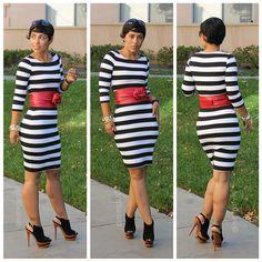 DIY Bold Black/White Striped Dress - mimi g.