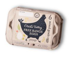 Otaika Valley free range size 6 mixed grade eggs carton.