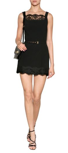 Delicate scalloped lace trim lends an ultra-feminine finish to this belted romper from Moschino Cheap and Chic #Stylebop