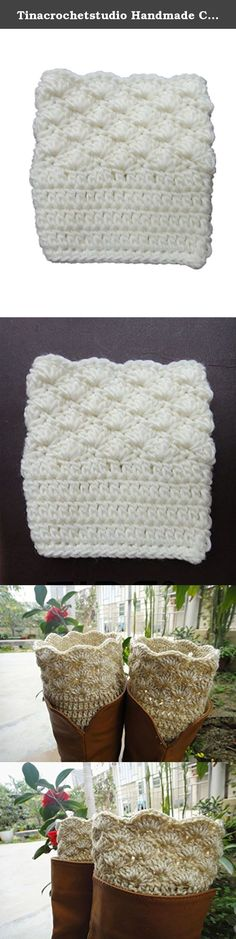 """Tinacrochetstudio Handmade Crochet Boot Cuffs with Scallop Edge (Ivory). We are family business. All items in my shop are all 100% handmade crocheted in a pet-free, smoke-free, clean home. Every item was uniquely crocheted with love. We hope you may love them as we do. Measured about 12""""-14"""" in calf circumference and 5.5-6"""" in length. Black, gray, beige, ivory colors are available. If you need them to be made in a different color or size. Pls feel free to request a custom order. thanks."""