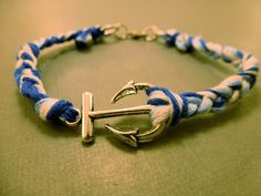 Anchor Bracelet: Braided Cotton Thread Anchor by CraftsbyBrittany
