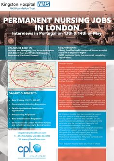 Nursing jobs in London-Kingston Hospital. Interviews in Lisbon on 13th and 14th May. Send your CV to marta.szarek@cplhealthcare.com today! Travel Nursing, Nursing Jobs, Elderly Care, Belfast, Kingston, Dublin, Interview, The Unit, London