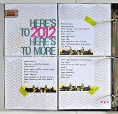 """Sasha Farina rocks Project Life using the Balzer Designs """"chevron"""" stencil in 6x6!"""