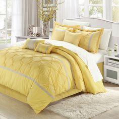 Chic Home Valde Rose Queen Comforter Set In Yellow/grey Yellow Gray Bedroom, Grey Bedroom Design, Bed Design, House Design, Yellow Bedrooms, Bedroom Designs, Girl Bedrooms, Blue And Yellow Bedding, Bedroom Styles