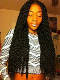 Chunky two strand twist extensions. I want them! Perhaps that's her real hair? If so, how awesome is that?