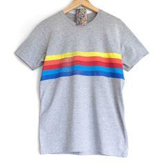 RAINBOW T SHIRT. 100% organic cotton T shirt. Hand painted. Rainbow on white. Festival T-shirt SvyeTb