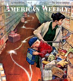 Grocery shopping with Junior ~ American Weekly, October 20, 1957.
