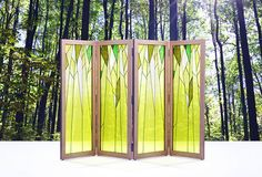 Forest themed silk Jogakbo  Folding Screen in wooden frame, made by artist…