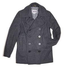b0a01d31ca9 Slim Fit Peacoat in Grey Wool Melton by Schott