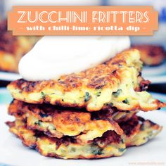 Healthy Zucchini Fritters with Chilli Lime Ricotta Dip - amazing snack and nutritious dinner!