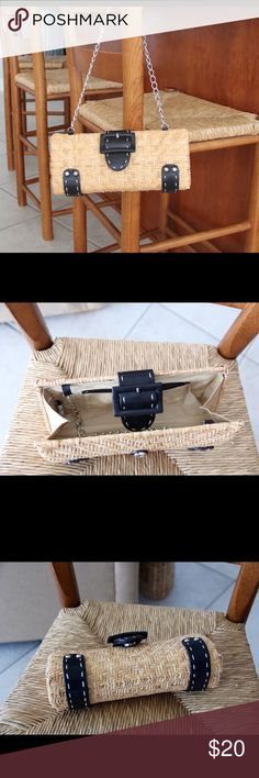 Great Summertime Clutch NWOT NWOT Clutch with chain shoulder strap. Great for summer outings with lots of room for your phone and sun/reading glasses. Bags Clutches & Wristlets