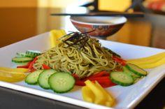 Green Tea Soba Noodle Salad with Mango, Cucumber, and Red Bellpepper. Soy-ginger vinagraitte dressing