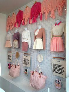 Visual Merchandising 101 — Wall display at Shibuya store in Tokyo, Japan Visual Merchandising Displays, Fashion Merchandising, Visual Display, Display Wall, Retail Displays, Shop Displays, Window Displays, Display Ideas, Boutique Interior