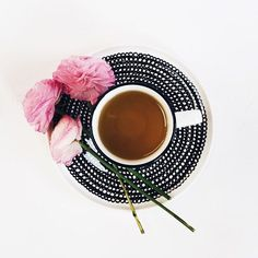 First stop, tea. Natalie Marie Jewellery, Red And Pink, Black And White, Cute Little Things, Marimekko, Salad Plates, Fresh Flowers, Pottery Art, Tea