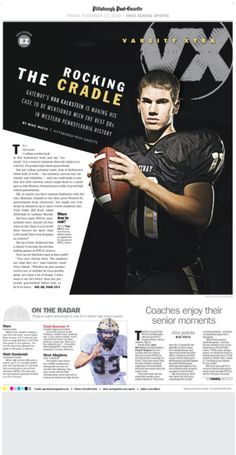Varsity Xtra, our high school sports weekly. Photo by Rebecca Droke Sport Editorial, Editorial Layout, Editorial Design, Newspaper Layout, Newspaper Design, Print Layout, Layout Design, Design Ideas, Playboy