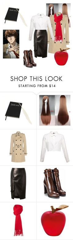 """Light Yagami"" by yoli-potterhead ❤ liked on Polyvore featuring Burberry, Alexander McQueen, Boutique Moschino and Daum"
