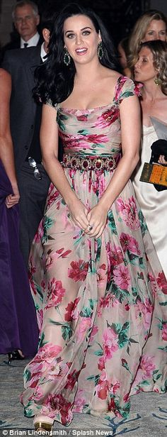 The best picture I've ever seen of her     Dream girl: Katy looked better than ever in her sheer floral Dolce and Gabbana gown at the high profile event