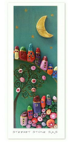 Stone Art Colorful Houses PEBBLE art Family gift by StefArtStone