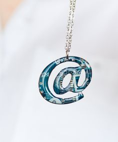"""Circuit Board """"@"""" Necklace is an incredible piece for a computer geeky girl. It is a """"must-have"""" if you are geeky and like unusual jewelry! Just imagine what a furore you'll create wearing such a neck"""