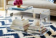 One Kings Lane - Plexi Craft Payton Trunk. Love idea of book 'story' inside Clear Coffee Table, Lucite Coffee Tables, Coffee Table With Storage, Lucite Furniture, Acrylic Furniture, Luxury Furniture, 48 Round Dining Table, White Decor, Plexus Products