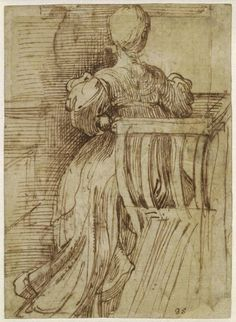 Parmigianino Study of a seated woman seen from the back ca. 1518-40 drawing